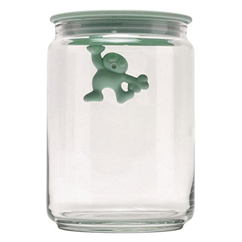"""Alessi AMDR05 MS""""Gianni a little man holding on tight"""" Kitchen Box in Glass With Hermetic Lid in Thermoplastic Resin, Mint Shake"""