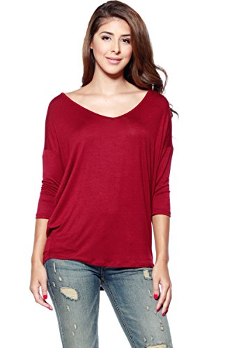 A+D Womens Casual V-neck Tunic Blouse Top W/ Dolman Sleeves (Burgundy, Small)
