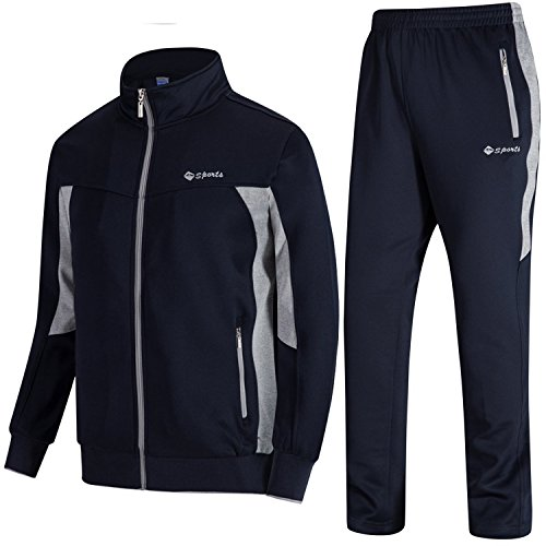 TBMPOY Men's Outdoor Performance Regular Fit Suit Sweat Warm Up Pants(Navy and Grey,US XL) ()