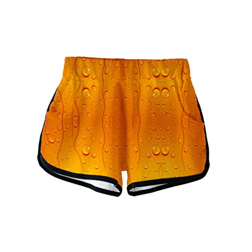 Togethor Casual Shorts Pants Ladies' 3D Beer Festival Printing German Dress Costumes for Bavarian Oktoberfest Carnival Orange -