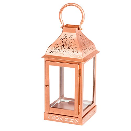Hanging Candle Holder - Indoor or Outdoor Decorative Hanging Lantern - Tealight or Pillar Candle Holder - Copper or Gold Finish Lantern Candle Holder for Home, Party, or Patio Decoration (Copper)