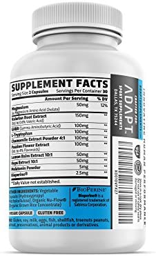 Adapt Nightfall Natural Sleep Aid Formulated for Non-Habit Forming, Deep, Restful Sleep Magnesium, GABA, Chamomile Extract, Valerian Root More 60 Gluten Free, Veggie Capsules
