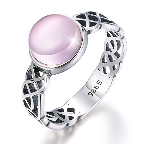 Esberry 18K Gold Plating 925 Sterling Silver Celtic Knot Rings with Natural Stone Cross Rings for Women and Girls (Antique Silver-Rose Quartz, 9.5)