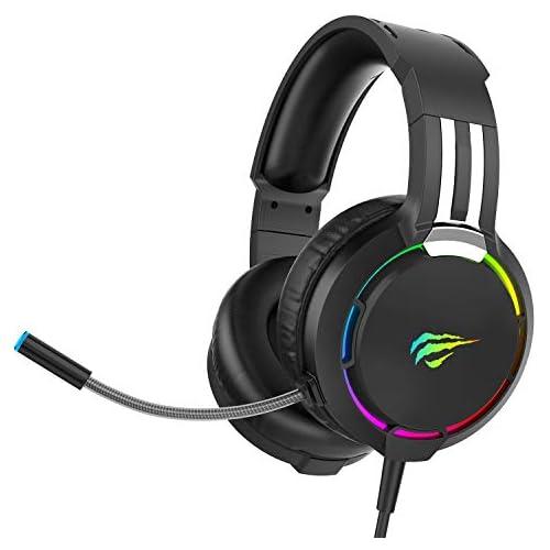 chollos oferta descuentos barato Auriculares Gaming PS4 HAVIT Iluminación RGB Cascos Gaming Sonido Envolvente Controlador de 50MM y micrófono con reducción de Ruido para Xbox One PC Móvil 2010d Negro