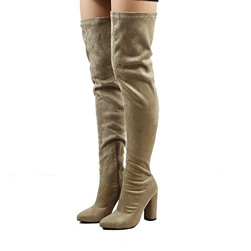 ccc7e41dac5 ESSEX GLAM Womens Thigh High Chunky Block Heel Stretch Calf Leg Sock Over  The Knee Boots