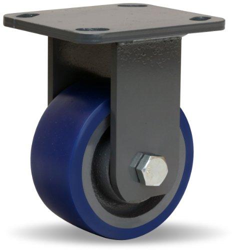 Hamilton Workhorse Plate Caster, Rigid, Poly-Soft Polyurethane Wheel, Precision Ball Bearing, 600 lbs Capacity, 4
