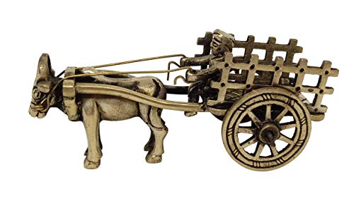 Indian Handicrafts Paradise Adorable Brass Showpieces with Antique Look for Home Decorations Hand Made Home Decor Accents Vintage Bullock Cart with a Rider and Carriage | Centerpieces for Coffee Table