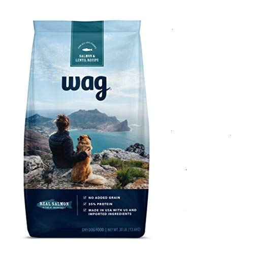 Amazon Brand – Wag Dry Dog Food Salmon & Lentil Recipe (30 lb. Bag)