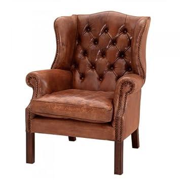 Casa Padrino Luxus Echtleder Ohrensessel Chesterfield Vintage Braun