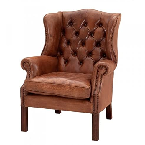 Luxus sessel  Luxus Echtleder Ohrensessel Chesterfield Vintage Braun - Sessel ...
