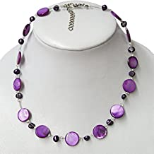 Chic-Net Chain Ladies Necklace purple pearl mother of pearl shell tiles 42- 48 cm Carabiner nickel free