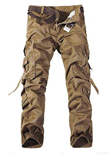 Keybur Men's Cotton Casual Military Army Cargo Camo Combat Work Pants (38, Khaki)
