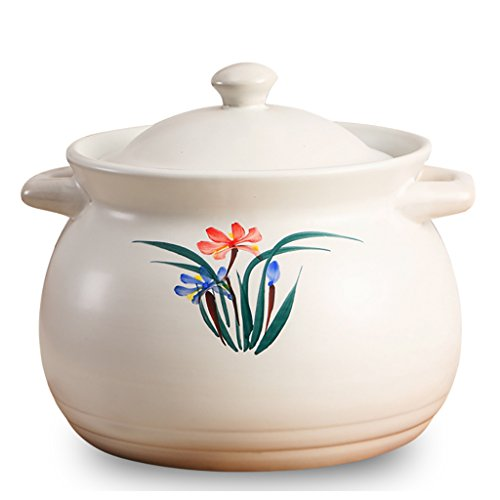 Pots Ceramic Casserole Painted By Hand, Orchid Stone Pot, Open Fire, Casserole dishes (Size : 4.8L)