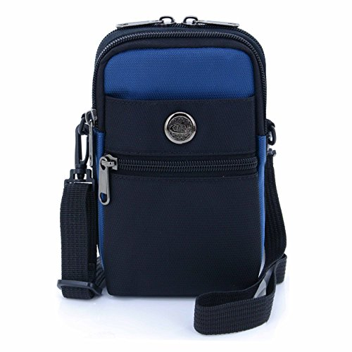 Price comparison product image U-TIMES Casual Water Resistant Nylon Waist Bag Security Pack Crossbody Phone Pouch For 6 inch Cell Phones(Dark Blue)