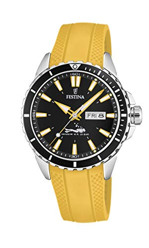 Men's Watch Festina - F20378/4 - Day/Date - Diver W.R. 20 Bar - 44mm - Yellow Rubber