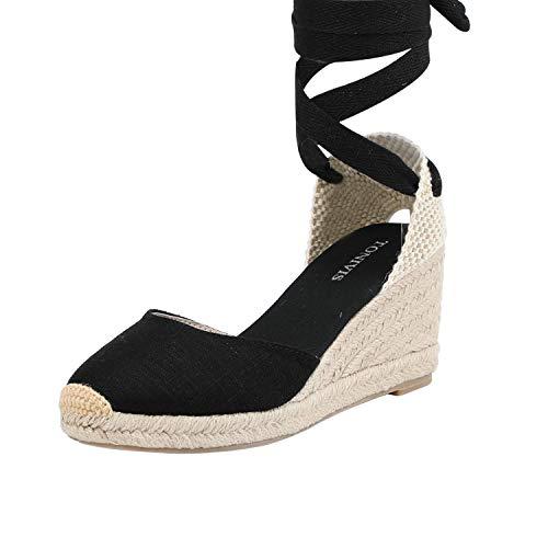 TONIVIS Womens Lace Up Platform Wedges Espadrilles Heel Closed Cap Toe with Soft Ankle-Tie Strap Sandals (7 M US, Black - 2.5