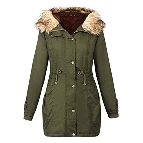 Parka armée en taille lourde fourrure d'Oudan vert d'hiver vert capuche avec pour XL femmes couleur rwPrxp04