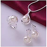 Hot Sale Fashion 925 Sterling Silver Jewelry Set Crystal & simulated pearls ring earrings necklace jewelry sets for women