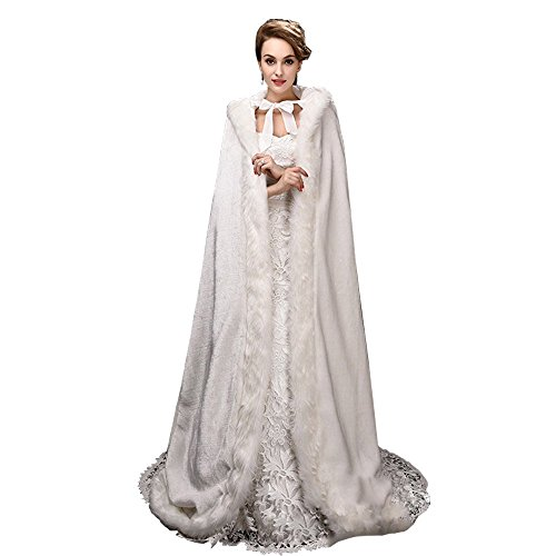 Fenghuavip Warm Long Cloak White Thicken Wedding Capes (White)
