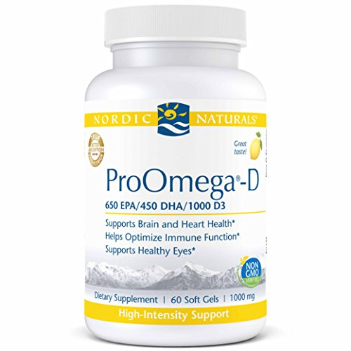 Nordic Naturals ProOmega-D - Fish Oil, 650 mg EPA, 450 mg DHA, 1000 IU Vitamin D3 Cholecalciferol, Support for Cardiovascular, Neurological, Eye, and Immune Health*, Lemon Flavored, 60 Soft Gels