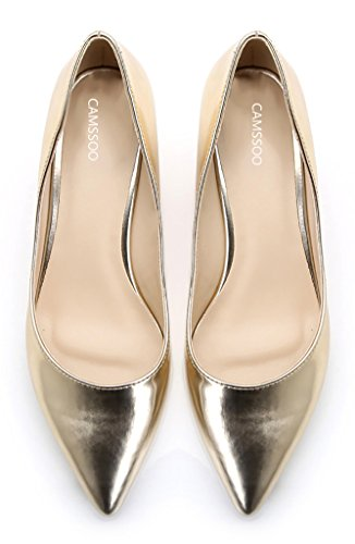 for Party Slip Pumps CAMSSOO Shoes Heels Toe soft pu Women's Pointy gold Kitten On Wedding nqqUF8vwx