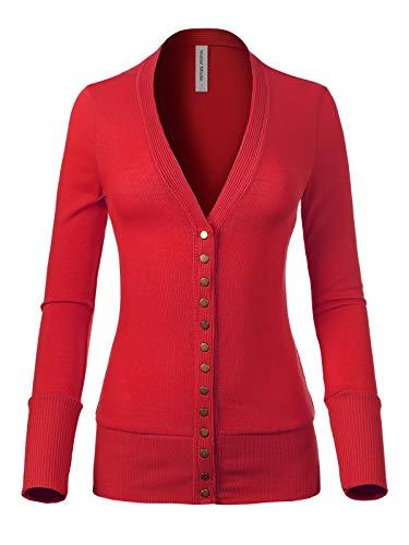 (Instar Mode Women's Soft Basic V-Neck Long Sleeve Snap Button Down Knit Cardigan Ruby M)
