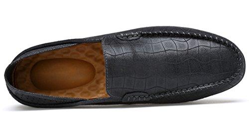 Tda Herenmode Ademend Wandelen Lederen Stiksels Mocassins Rijden Cent Loafers Schoenen Grijs Zwart-style1