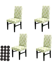 Dining Chair Cover, Stretch Chair Slipcovers, Chair Protector Seat Cover for Home Hotel Restaurant with 30pcs Non-Slip Chair Foot Stickers (Green+White, 4 Pcs)