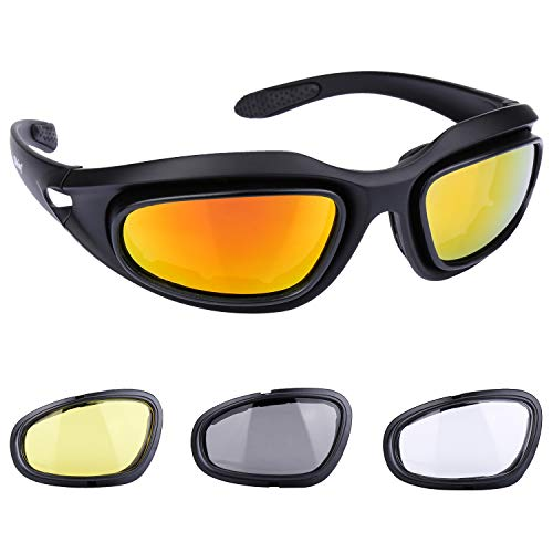 Polarized Riding Glasses Motorcycle Goggles Sunglasses Ski Goggles Snowboard Goggles Padded Black Frame with 4 Lens Kit for Outdoor Activity Sport