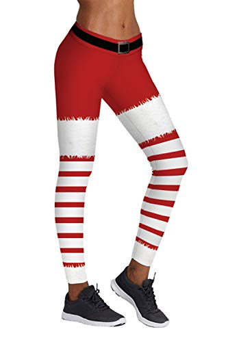 Pink Queen Women's Santa Claus Costume White Red Leggings Ugly Pants]()