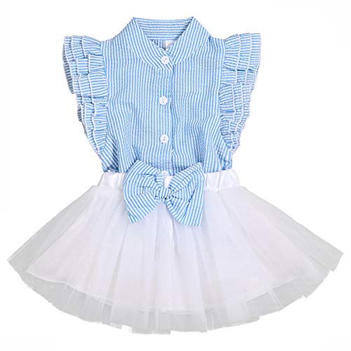 Little Kid Girls Clothes Summer Outfits 2-Piece Striped Shirt and Bow Tutu Skirt Set(6-7 T) Blue-White ()