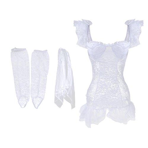 Traje Guantes Vestido Boda Encaje Magideal Par Cosplay Noche Transparente de Blanco Nupcial Velo St4wx4qndY