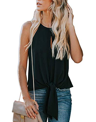 avakess Women's Summer Sleeveless Crew Neck Tank Tops Camis Front Tie Knot Casual Shirt Keyhole Front Blouse Black