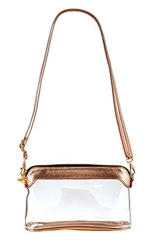Trim Santa - Santa Barbara Stadium Collection Clear Stadium Bag with Trim and Adjustable Strap, 6 1/4 Inch (Rose Gold)