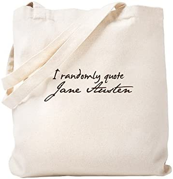 6a0b57e41 Amazon.com: CafePress - I Randomly Quote Jane Austen - Natural Canvas Tote  Bag, Cloth Shopping Bag: Kitchen & Dining