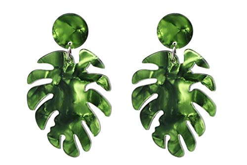ASKANA Fashion Women`s Acrylic Green Leaf Palm Stud Earrings