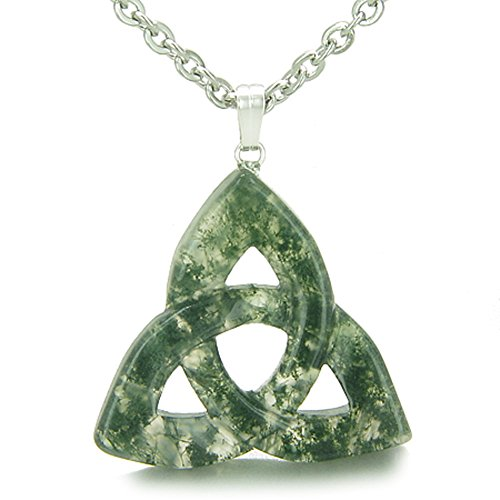 (Celtic Triquetra Knot Magic Amulet Green Moss Agate Good Luck Powers Pendant 18 Inch Necklace)