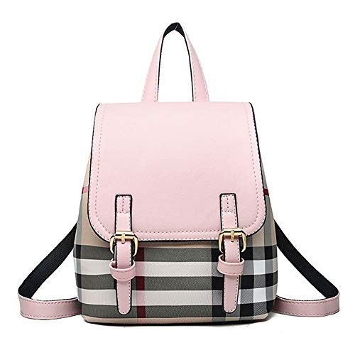 Vintage 90s Plaid Mini Leather Backpack Purse with College Style Casual School Bag for Girls and Women - Pink