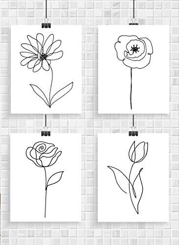 Flower Wall Art - Set of 4 Unframed 8x10 Prints - Rose, Poppy, Tulip & Daisy. Minimalist Black & White Decor Prints - Makes a Great Gift Under $20 for - Daisy White Single