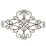 """Bronze Scrolled Metal Wall Art Medallion Plaque - Oblong Living Room Home Decoration 32.5"""" Wide x 21.5"""" Tall"""