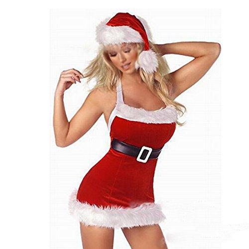 Back Christmas Hot Exposed Female JFLAI Uniforms Velour Underwear Colors Lingerie Women Belt Red 2 Soft Sexy Dress n8tRU86