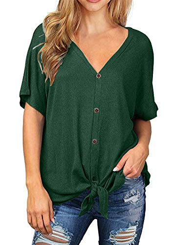 (Poulax Women Casual Ruffle Short Sleeve Striped Knot Tie Front Loose Tee T Shirt Tops,01 Dark Green,L)