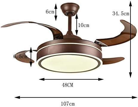 DE_ZHAO Ventiladores de Techo LED con lámpara, Ventilador Invisible Lámpara Minimalista Moderna Iluminación Colgante Restaurante Ventilador Luces de Techo Control Remoto: Amazon.es: Hogar