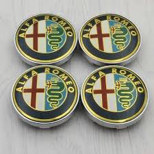 Juego de cuatro centros con el logotipo de Alfa Romeo para tapacubos, de aleación de