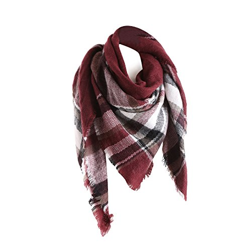 Burgundy Sweater - Surblue Warm Stylish Elegant British Style Color Blocking Plaid Shawl Scarf Blanket, Burgundy