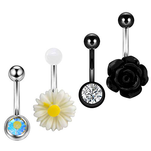 OUFER 4pcs Belly Button Rings with Clear CZ Daisy Flower Acrylic Navel Rings 14g Dainty Belly Rings Body Piercing ()