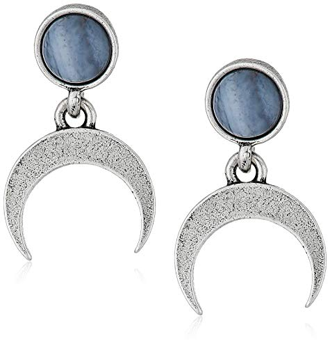 Alex and Ani Women's Blue Lace Agate Earrings, Rafaelian Silver, One Size