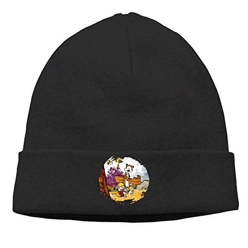 [OPUY Unisex Thomas Calvin And Hobbes Beanie Cap Hat Ski Hat Cap Snowboard Hat Black] (Calvin And Hobbes Couple Costume)