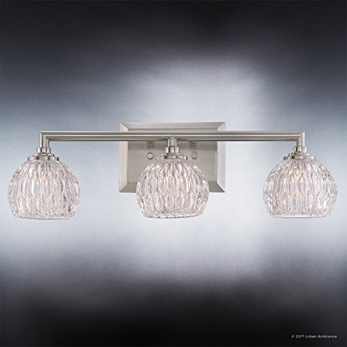 Luxury Crystal LED Bathroom Vanity Light, Medium Size: 6.25''H x 20''W, with Classic Style Elements, Brushed Nickel Finish and Marquis Cut Glass Shades, G9 LED Technology, UQL2621 by Urban Ambiance by Urban Ambiance (Image #3)