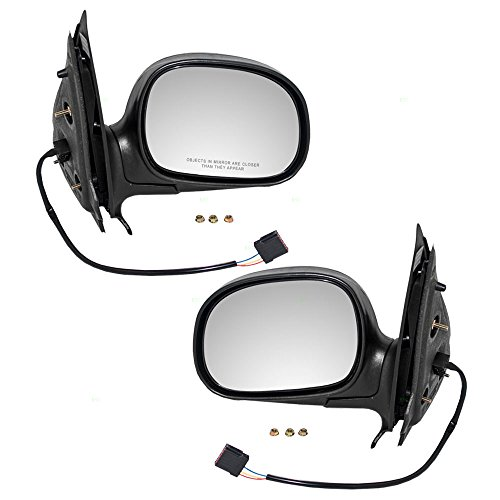 Driver and Passenger Power Side View Mirrors Textured Replacement for Ford Lincoln Pickup Truck SUV F85Z17683GAB F85Z17682GAA